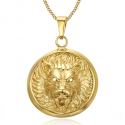 PE0204 BOBIJOO Jewelry Imposing Pendant Lion Head 3D Sun Steel Gold