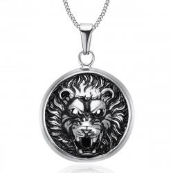 PE0205 BOBIJOO Jewelry Imposing Pendant Lion Head 3D Sun Steel