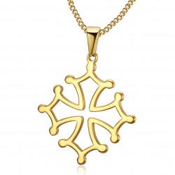 PE0206 BOBIJOO Jewelry Pendant Cross of Occitania, Languedoc Steel Necklace Gold