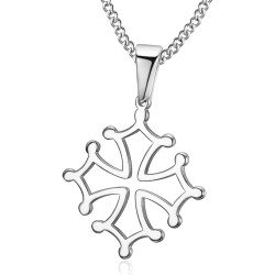 PE0207 BOBIJOO Jewelry Pendant Cross of Occitania, Languedoc Steel Silver