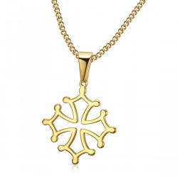 PEF0053 BOBIJOO Jewelry Pendant Cross of Occitania, 20mm Languedoc Steel Necklace Gold