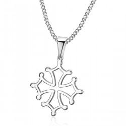 PEF0054 BOBIJOO Jewelry Pendant Cross of Occitania, 20mm Languedoc Steel Necklace