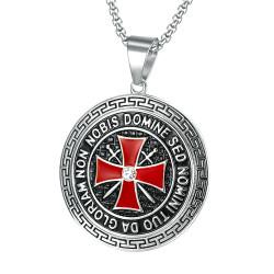 PE0192S BOBIJOO Jewelry Pendant Templar Steel Silver Cross Non Nobis