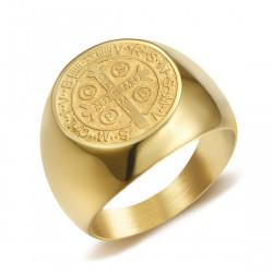 BA0322 BOBIJOO Jewelry Ring Siegelring Mann-Medaille St. Benedikt Gold