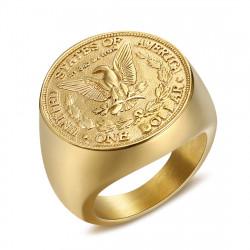 BA0327 BOBIJOO Jewelry Ring Signet Ring Man Piece One Dollar Steel Gold