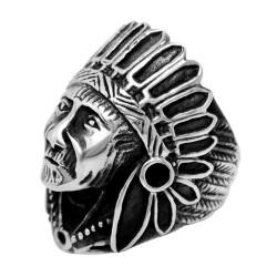 BA0325 BOBIJOO Jewelry Ring Signet ring Man Head of Indian Steel, Silver