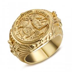 BA0326 BOBIJOO Jewelry Imposing Ring Signet Ring Egypt Pharaoh Steel Gold