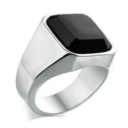BA0329 BOBIJOO Jewelry Ring Signet Ring Man Cabochon Agate Onyx Steel