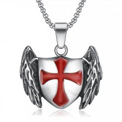 Pendentif Templier Chevalier Bouclier Ailé Croix Rouge bobijoo