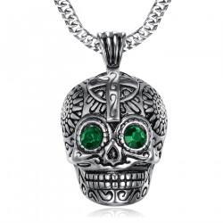 PE0212 BOBIJOO Jewelry Large Pendant skull Steel Silver Mayan Biker