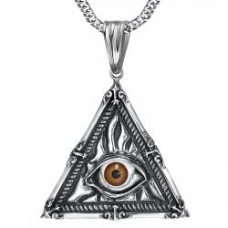 Pendentif Bijou Illuminati Oeil de la Providence Acier bobijoo