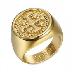 BA0336 BOBIJOO Jewelry Chevalière Bague Homme Templier Ordre Jerusalem Or