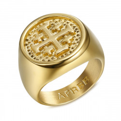 BA0336 BOBIJOO Jewelry Siegelring Ring Templer Mann Reihenfolge Jerusalem Gold