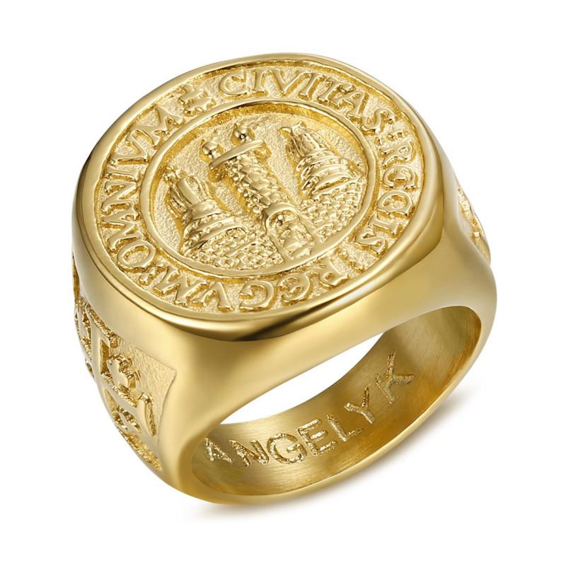 BA0337 BOBIJOO Jewelry Ring Signet ring Man Signet Jerusalem Steel PVD Gold