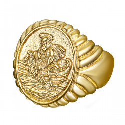 BA0339 BOBIJOO Jewelry Ring Signet Ring of the Fisherman Pope Steel PVD Gold