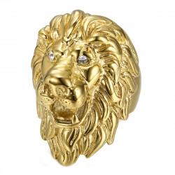 Enorme Bague Chevalière Homme Tête de Lion Or Diam's bobijoo