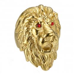 Enorme Bague Chevalière Homme Tête de Lion Or Rubis bobijoo