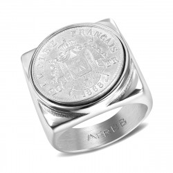 BA0344 BOBIJOO Jewelry Signet Ring Stainless Steel French Empire 20 Frs Square