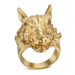 BA0345 BOBIJOO Jewelry Ring Signet Ring Man Boar Warthog Gold