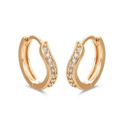 BOE0011 BOBIJOO Jewelry Boucles d'Oreilles Courbées Or Enfant Fille Femme Strass