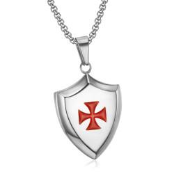 PE0223 LE BAGACIER Pendant Templar Coat Of Arms Shield Steel Silver + Chain
