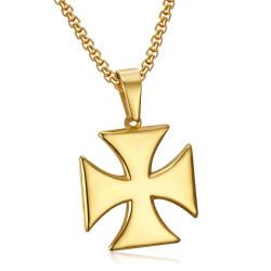 PE0224 BOBIJOO Jewelry Anhänger Templer Kreuz Pattée Solar-Stahl-Gold + Kette