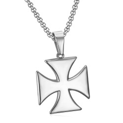 Pendentif Templier Croix Pattée Solaire Argent + Chaîne bobijoo