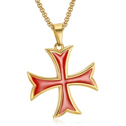 PE0226 BOBIJOO Jewelry Anhänger Templer Kreuz Pattée Spikes Eingefahren Gold