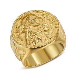 BA0348 BOBIJOO Jewelry Bague Chevalière Homme Saint Joseph Acier 316L Or
