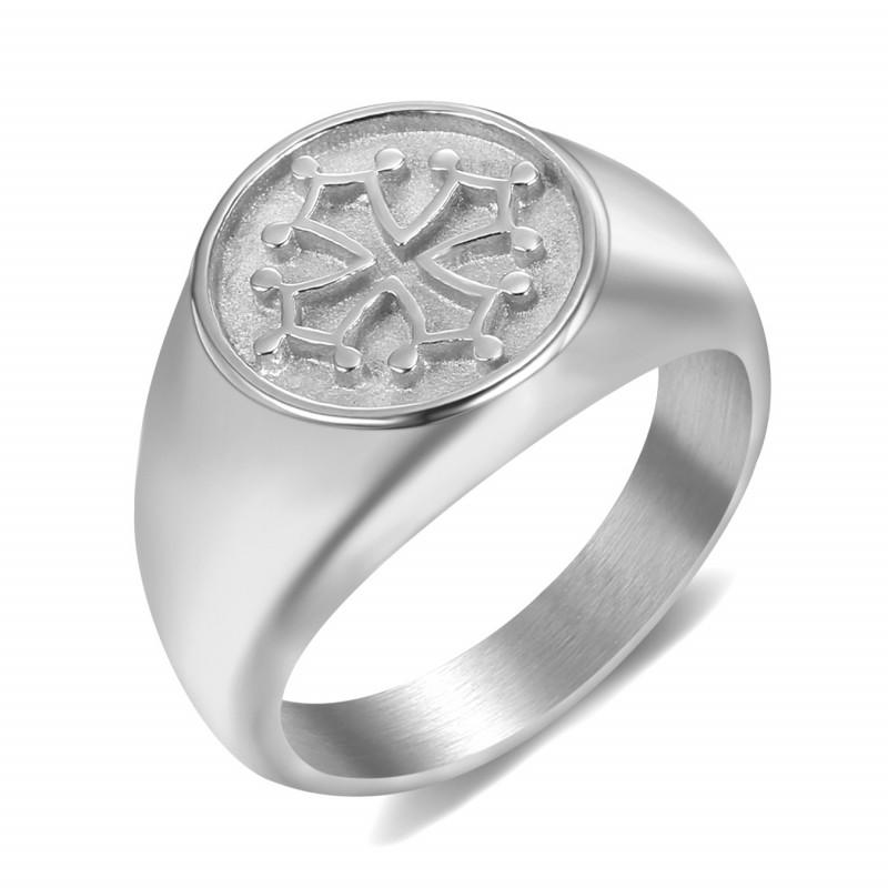BA0351 BOBIJOO Jewelry Ring Signet Ring Man Woman Cross Occitania Steel