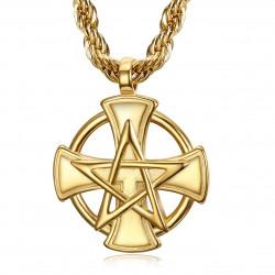 PE0236 BOBIJOO Jewelry Pendant Templar Cross Pentagrame Pentacle Mason Gold