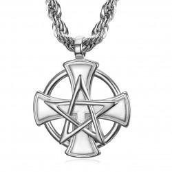 PE0237 BOBIJOO Jewelry Pendant Templar Cross Pentagrame Pentacle Mason