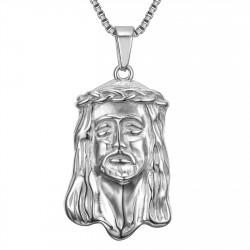 PE0129S BOBIJOO Jewelry Anhänger Kopf von Jesus Christus Stahl 316L + Kette