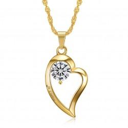 Pendentif Collier Coeur Je t'aime Acier Diamant Or bobijoo