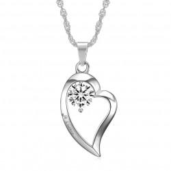 PEF0059 BOBIJOO Jewelry Pendant Necklace Heart I love you stainless Steel Diamond