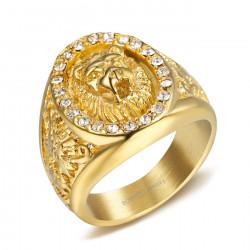 BA0352 BOBIJOO Jewelry Ring Signet ring Man Lion Head Rhinestone Zirconium