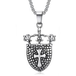 PE0076 BOBIJOO Jewelry Pendant Royal Shield Fleur de Lis Lion Cross