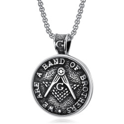 PE0082 BOBIJOO Jewelry Medallion Pendant Freemasonry Brothers Steel