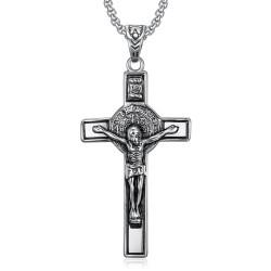 PE0094 BOBIJOO Jewelry Pendant, Saint Benedict of Nursia Jesus on Cross INRI