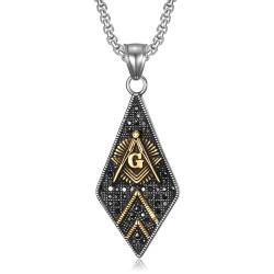 PE0109 BOBIJOO Jewelry Pendant Freemasonry Diamond Steel Gold