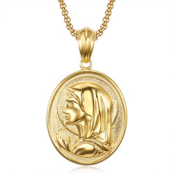Grand Médaillon Vierge Marie Oval Auréole Acier Or bobijoo