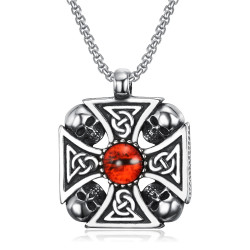 PE0239 BOBIJOO Jewelry Cross pendant knight Templar Celtic Biker skull Head Skull