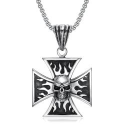 PE0240 BOBIJOO Jewelry Anhänger Biker Kreuz Templer-Schädel totenkopf Flammen