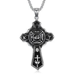 PE0241 BOBIJOO Jewelry Anhänger Templer Kreuz Vintage In Hoc Signo Vinces Stahl