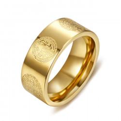 BA0357 BOBIJOO Jewelry Bague Anneau Alliance Saint Benoît Or Protection 8mm