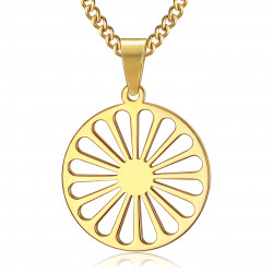 PE0244 BOBIJOO Jewelry Pendant Wheel of the Travelers Flag Gypsies Gold