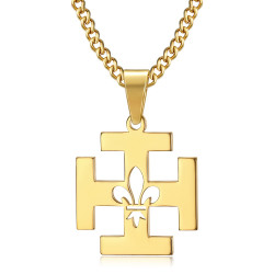 PE0246 BOBIJOO Jewelry Pendant Scout France Potent Cross Fleur-de-Lys Gold