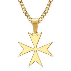 PE0250 BOBIJOO Jewelry Anhänger Kreuz von Malta St JeanTemplier Biker Gold