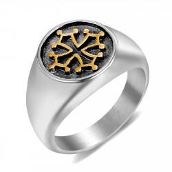 BA0242 BOBIJOO Jewelry Chevalière Bague Croix Occitane du Languedoc Acier Or