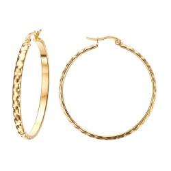 BOF0101 BOBIJOO JEWELRY Earrings Creoles Chiseled 40mm Steel Gold